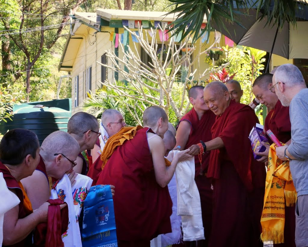 Lama Zopa Rinpoche receiving khatas from the nuns of Chenrezig Nuns Community, Eudlo, Queensland, Australia, September 2014. Photo by Ven. Thubten Kunsang.