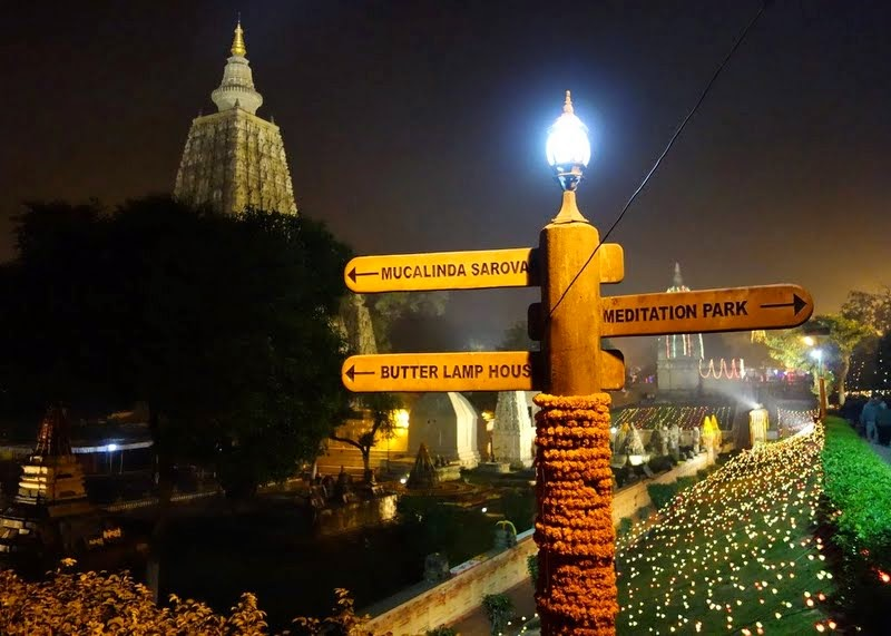 Mahabodhi Temple and grounds at night, Bodhgaya, India, January 2014. Photo by Ven. Roger Kunsang.