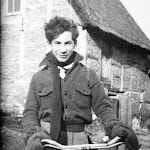 One of the evacuees from London who came to live in Upton, shown outside Owlscote Manor Farm. He helped with the cubs and scouts. His brother was Joe Loss, the band leader.