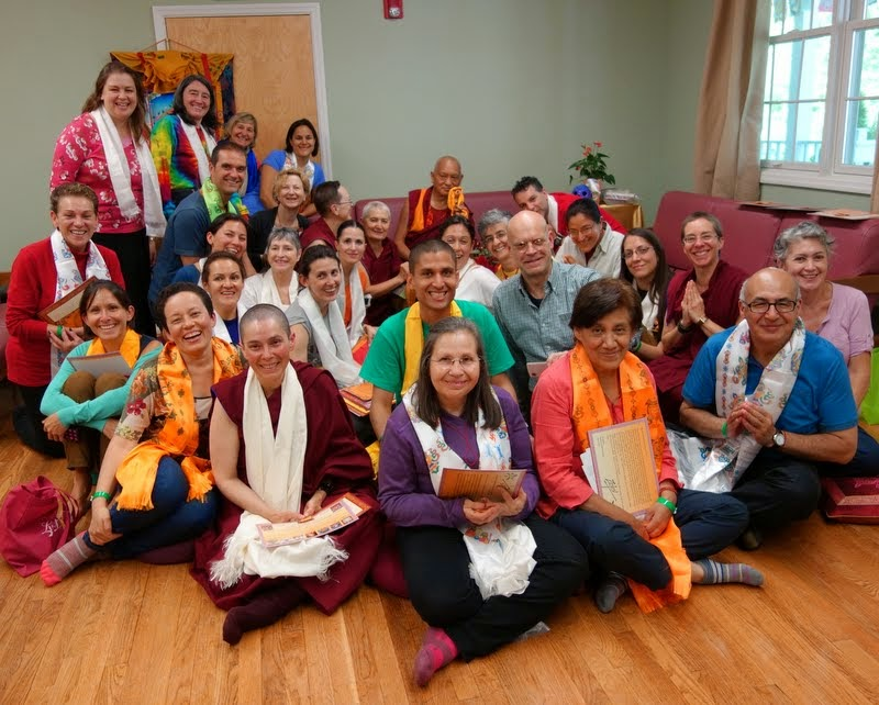 Lama Zopa Rinpoche with Teddy Tulku and Spanish speaking students at Light of the Path, May 2014. Photo by Ven. Roger Kunsang.
