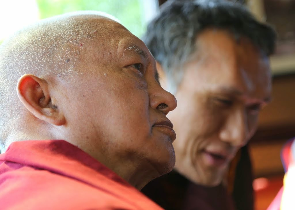 Lama Zopa Rinpoche and Yangsi Rinpoche, Portland, Oregon, US, April 2014. Photo by Ven. Thubten Kunsang.