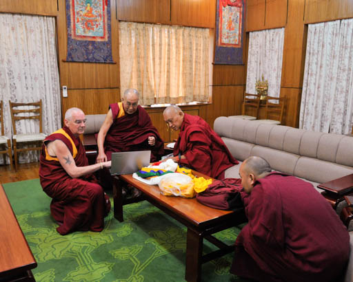 His Holiness the Dalai Lama with Lama Zopa Rinpoche and Ven. Roger Kunsang, Dharamsala, India, March 30, 2015. Photo courtesy of the Office of His Holiness the Dalai Lama.