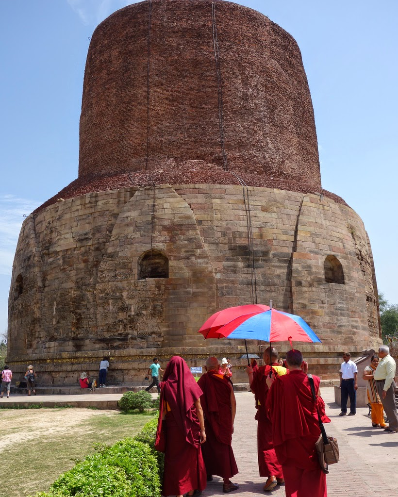 Lama Zopa Rinpoche visiting the stupa at Sarnath, India, March 2014. Photo by Ven. Roger Kunsang.