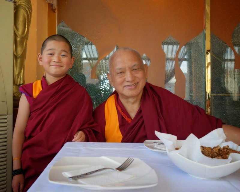 Lama Zopa Rinpoche with Jamyang Kharpo Rinpoche, who was recently recognized by His Holiness the Dalai Lama, Mongolia, August 2014. Photo by Ven. Roger Kunsang.