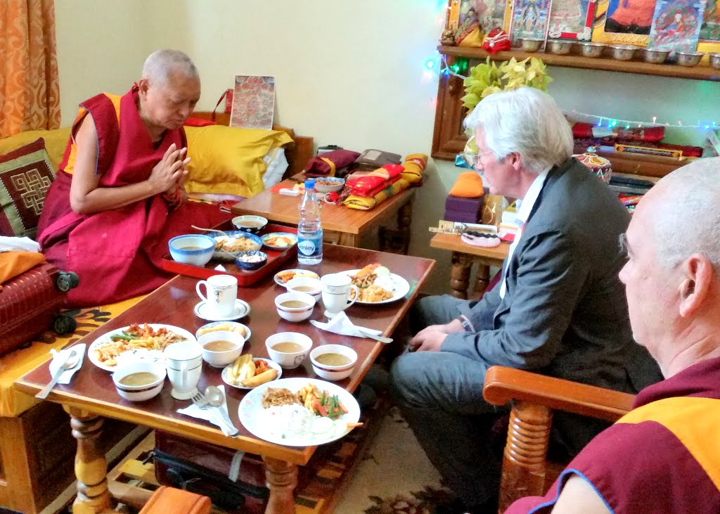 Lama Zopa Rinpoche has lunch with Richard Gere during break time for Jangchub Lamrim teachings at Gaden Monastery, Mundgod, Karnataka, India, December 2014. Photo by Fabrizio Palloti.