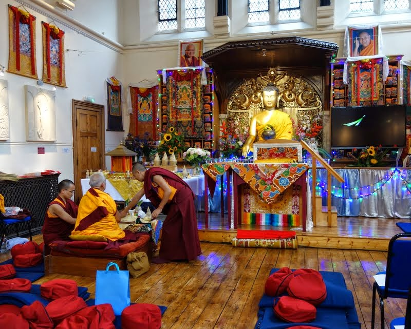 Lama Zopa Rinpoche beginning preparations for the Five Heruka Deities initiation, Jamyang Buddhist Centre, London, UK, July 2014. Photo by Ven. Roger Kunsang.