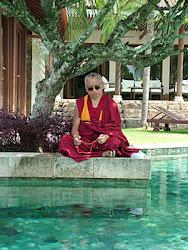 Rinpoche doing puja for pretas , Singapore, April 2005  Photo credit: Ven Roger Kunsang