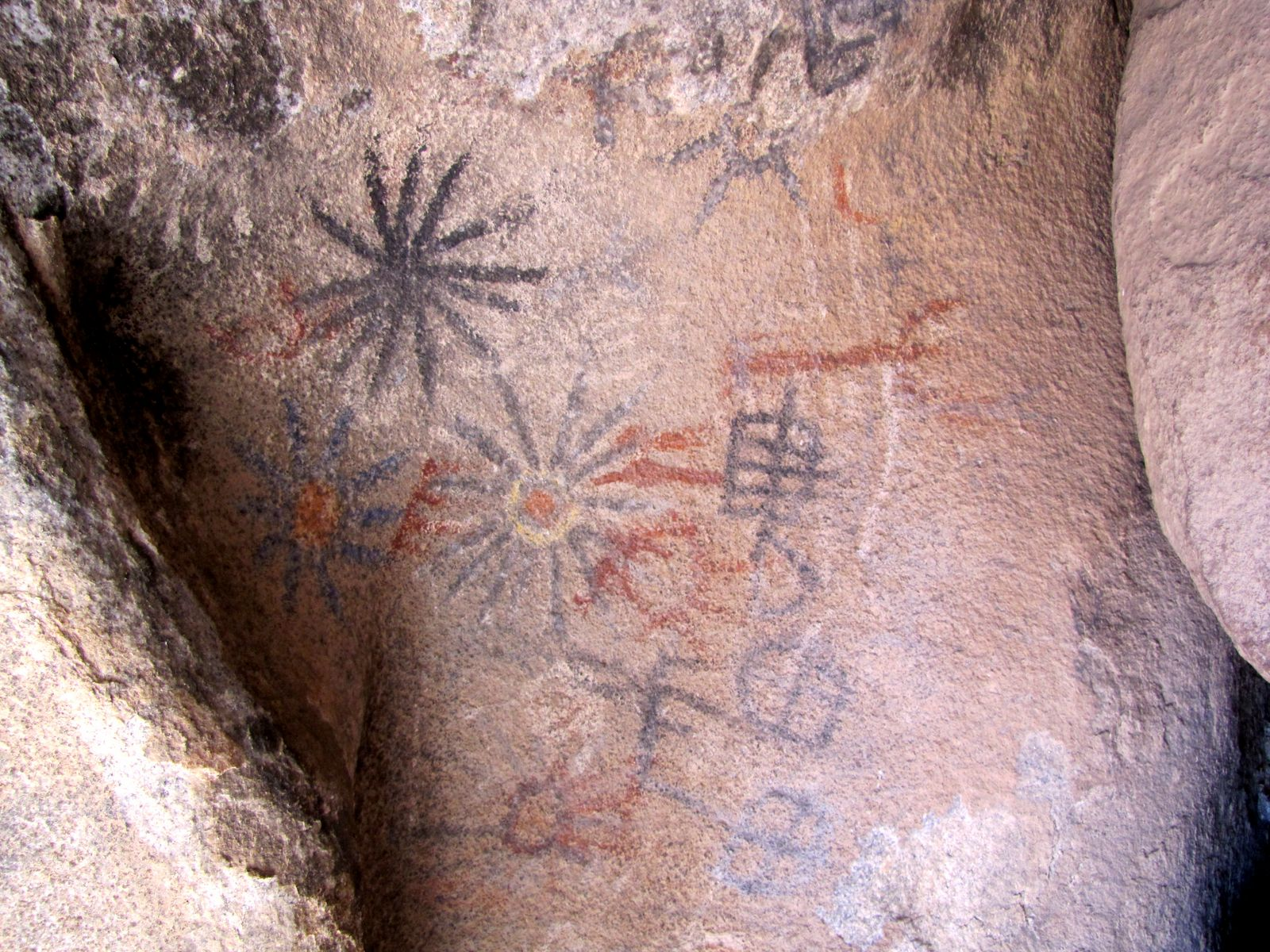 Since we were in the area we took a quick detour to show the Indian Hill pictographs to the group.