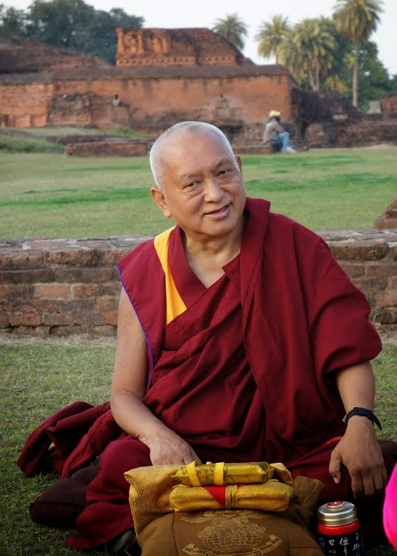 "Lama Zopa Rinpoche givingtheoraltransmissionforLamaTsongkhapa's""In Praise of DependentArising"" at Nalanda, Bihar, India, February 2014. Photo by Ven. Roger Kunsang."