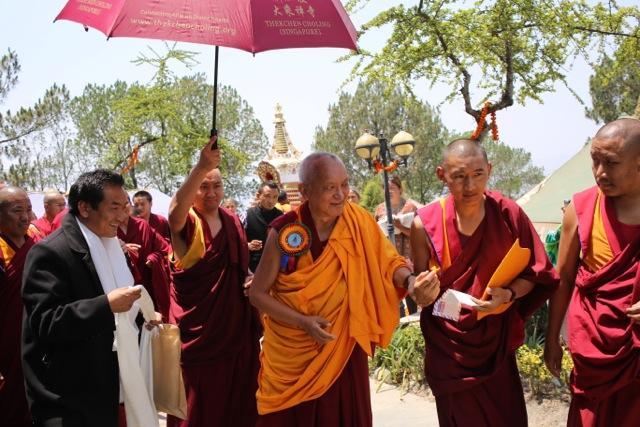 Lama Zopa Rinpoche during consecration of Khensur Lama Lhundrup stupa at Kopan Monastery, May 3, 2013. Photo by Ven.Thubten Kunsang