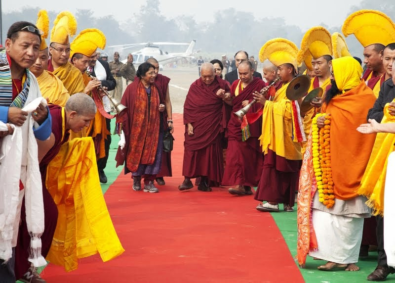 Lama Zopa Rinpoche arriving at Kushinagar, India, December 13, 2013. Photo by Andy Melnic.