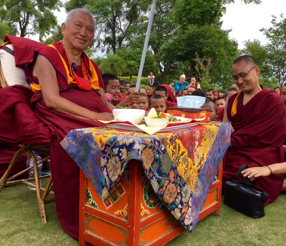 Lama Zopa Rinpoche in garden at Kopan Monastery on the day after the earthquake, April 25, 2015. Photo by Ven. Sarah Thresher.