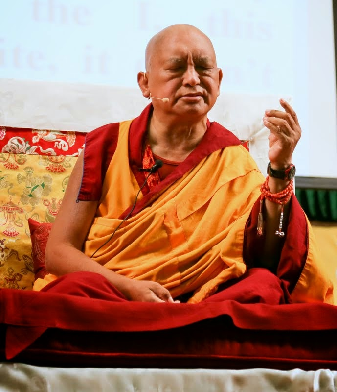 Lama Zopa Rinpoche teaching at Light of the Path retreat, Black Mountain, North Carolina, US, May 2014. Photo by Ven. Thubten Kunsang.