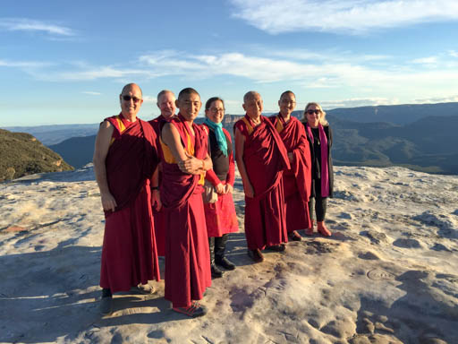 Lama Zopa Rinpoche with entourage members and FPMT Australia students in the Blue Mountains, Australia, June 2015. Photo by Ven. Roger Kunsang.