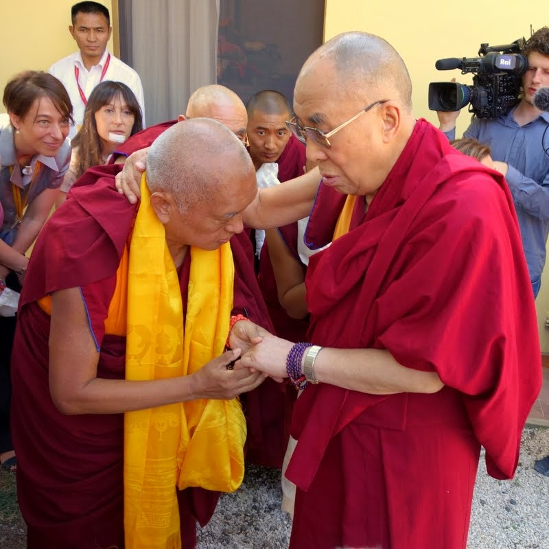 His Holiness the Dalai Lama with Lama Zopa Rinpoche, Istituto Lama Tzong Khapa, Pomaia, Italy, June 10, 2014. Photo by Ven. Roger Kunsang.