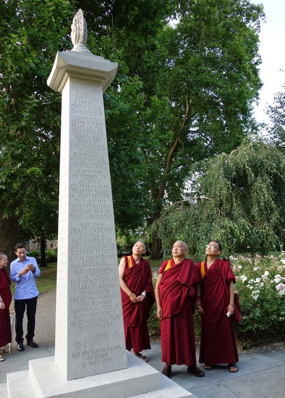 Lama Zopa Rinpoche with Geshe Tashi Tsering and Ven. Sherab at the Tibetan Peace Garden in London, UK, July 2014. Photo by Ven. Roger Kunsang.