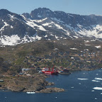 Approaching Tassilaq, town in the district of Ammassalik - the largest town in East Greenland, 1800 people