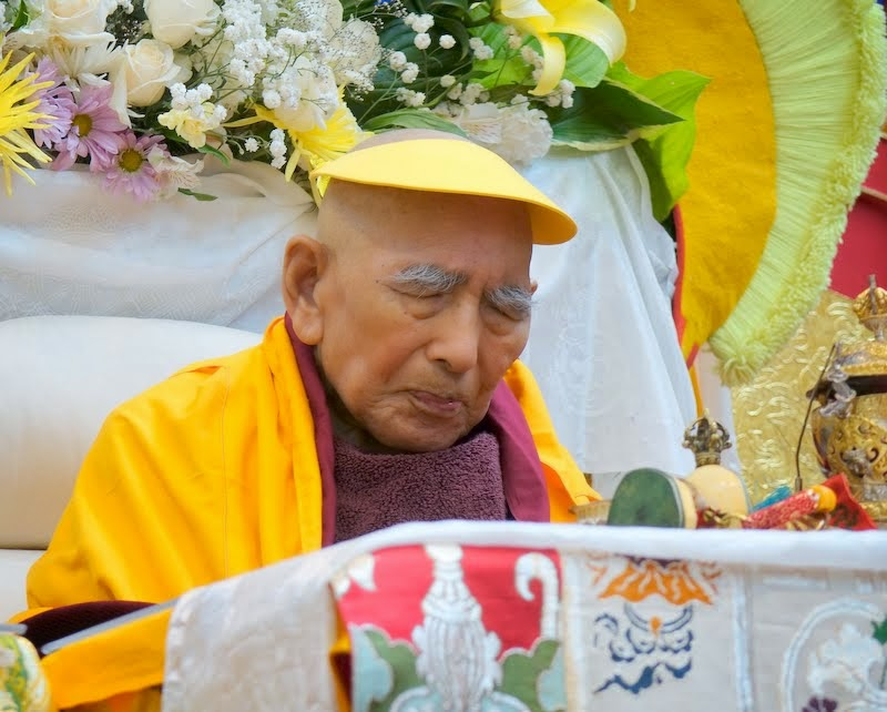 "Geshe Sopa Rinpoche during long life puja, Deer Park Buddhist Center, Wisconsin, US, July 20, 2014. Photo by Ven. Roger Kunsang. Geshe-la is 92 years old and quite frail. Ven. Roger Kunsang shared, ""Geshe-la seems to be constantly in meditation."""