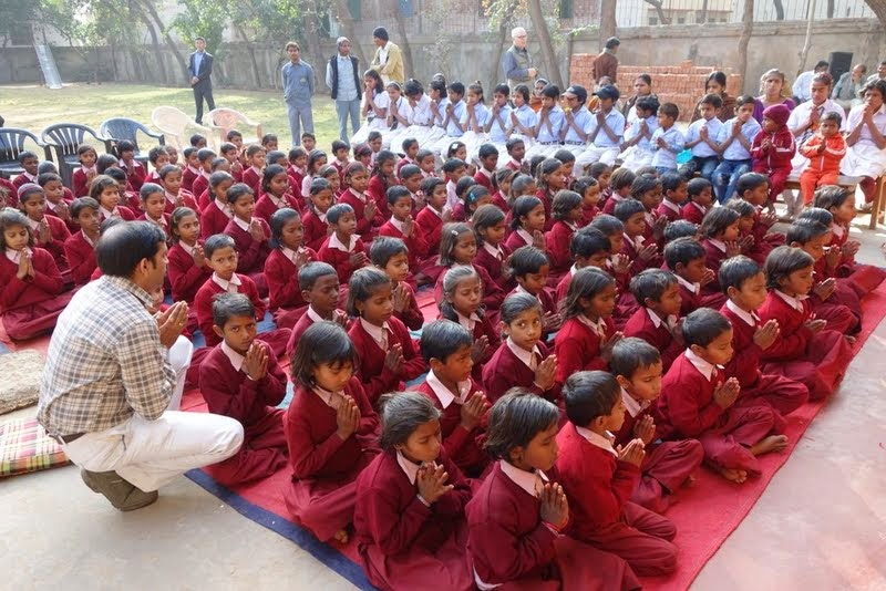 Maitreya School children waiting for a talk by His Holiness the Karmapa, Bodhgaya, January 31, 2014. Photo by Ven. Roger Kunsang.