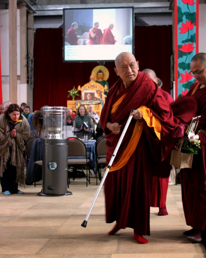 Lama Zopa Rinpoche after leading the morning motivation at CPMT, Great Stupa of Universal Compassion, Australia, September 2014. Photo by Laura Miller.