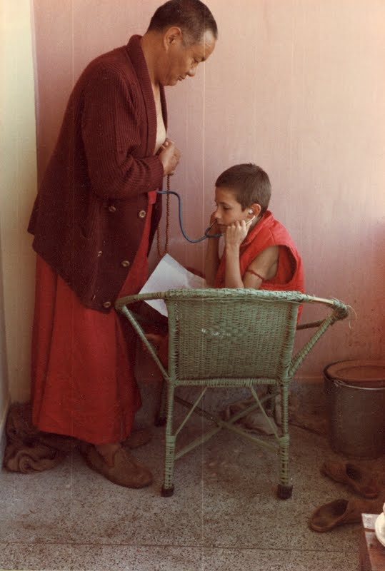 """Dr."" Wangchuck Meston listening to Lama Yeshe's heart"