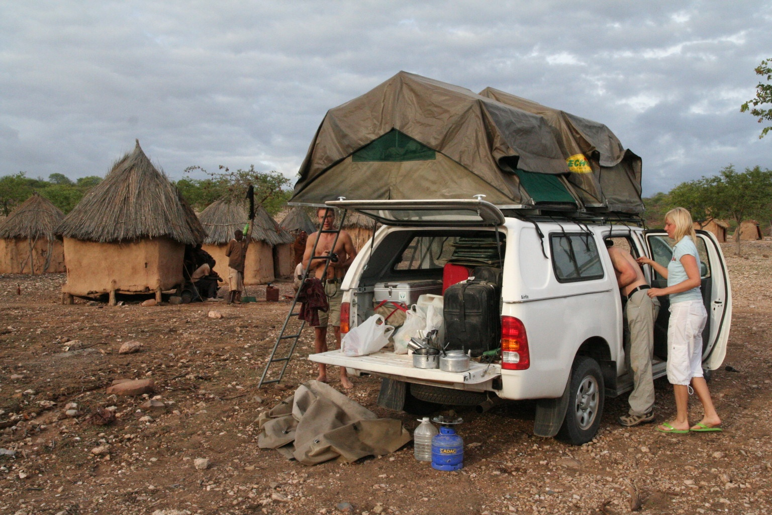 A morning in Himba traditional village near Opuwo