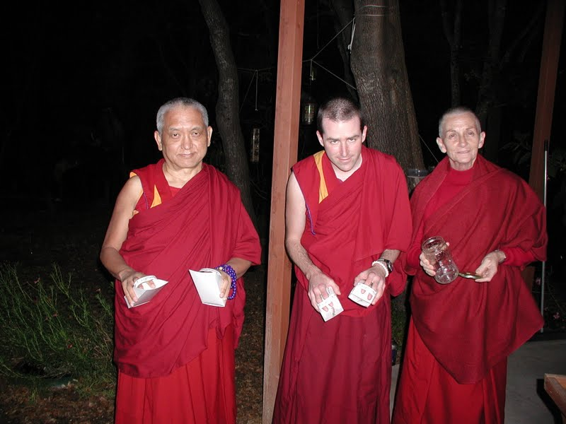 Lama Zopa Rinpoche and Sangha using Animal Liberation Tools to save insects around a stupa