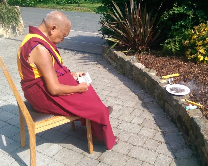 Lama Zopa Rinpoche at Land of Joy doing incense puja for the success of the new retreat center in Northumberland, UK, July 2, 2014. Photo by Ven. Roger Kunsang.