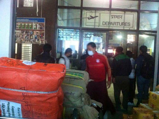 Emergency supplies for Thame, Rinpoche's birthplace in Solu Kumbu, at Kathmandu airport, Nepal, April 2015