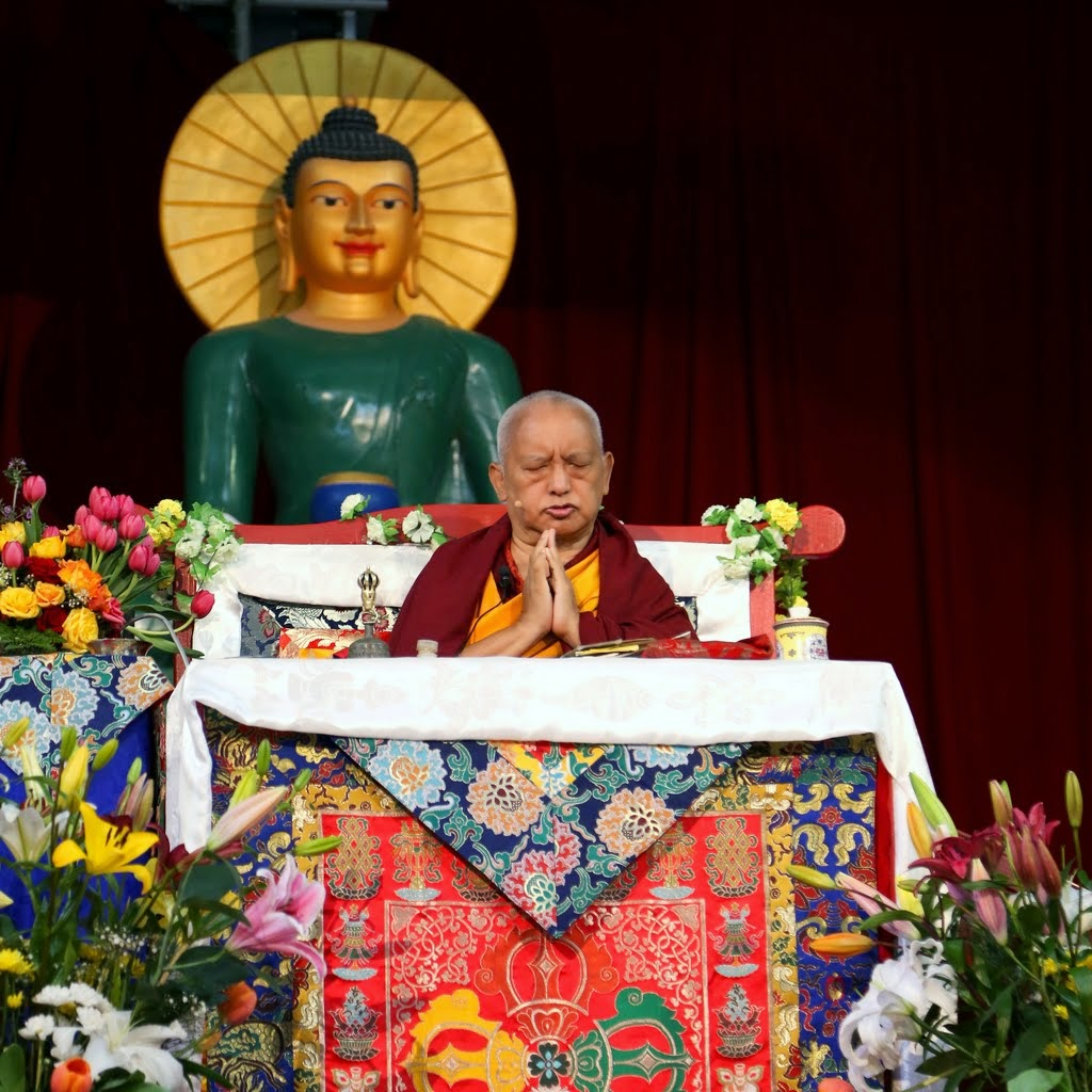 Lama Zopa Rinpoche teaching during retreat at Great Stupa of Universal Compassion, Australia, October 2014. Photo by Ven. Thubten Kunsang.