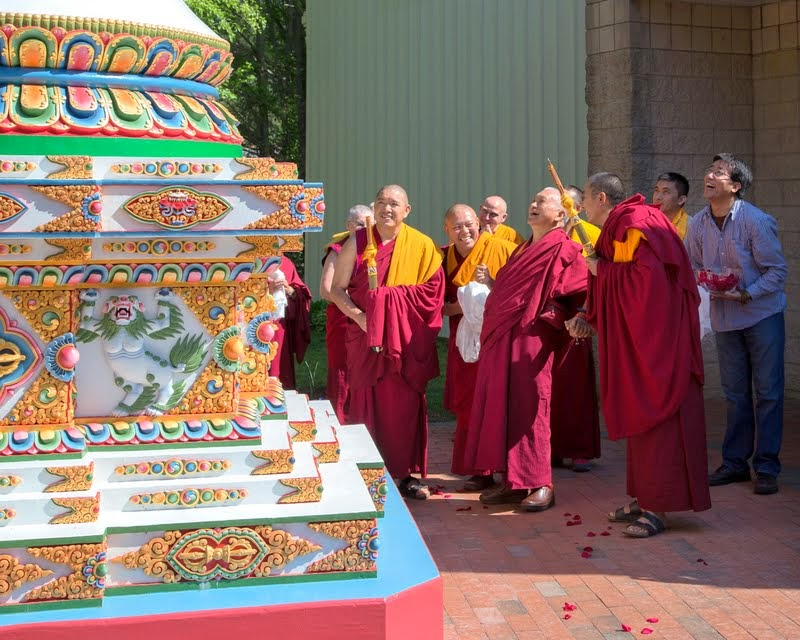 Lama Zopa Rinpoche and Kadampa stupa at Kadampa Center, Raleigh, North Carolina, US, May 3, 2014. Photo by David Strevel.