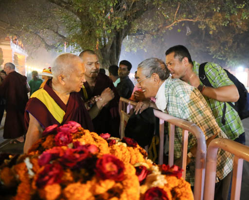 Lama Zopa Rinpoche at Mahabodhi Stupa at night, Bodhgaya, India, February 2015. Photo by Ven. Thubten Kunsang.