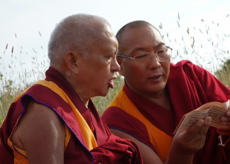 Lama Zopa Rinpoche and Dagri Rinpoche doing prayers on retreat land near ILTK, Italy, June 18, 2014. Photo by Ven. Roger Kunsang.