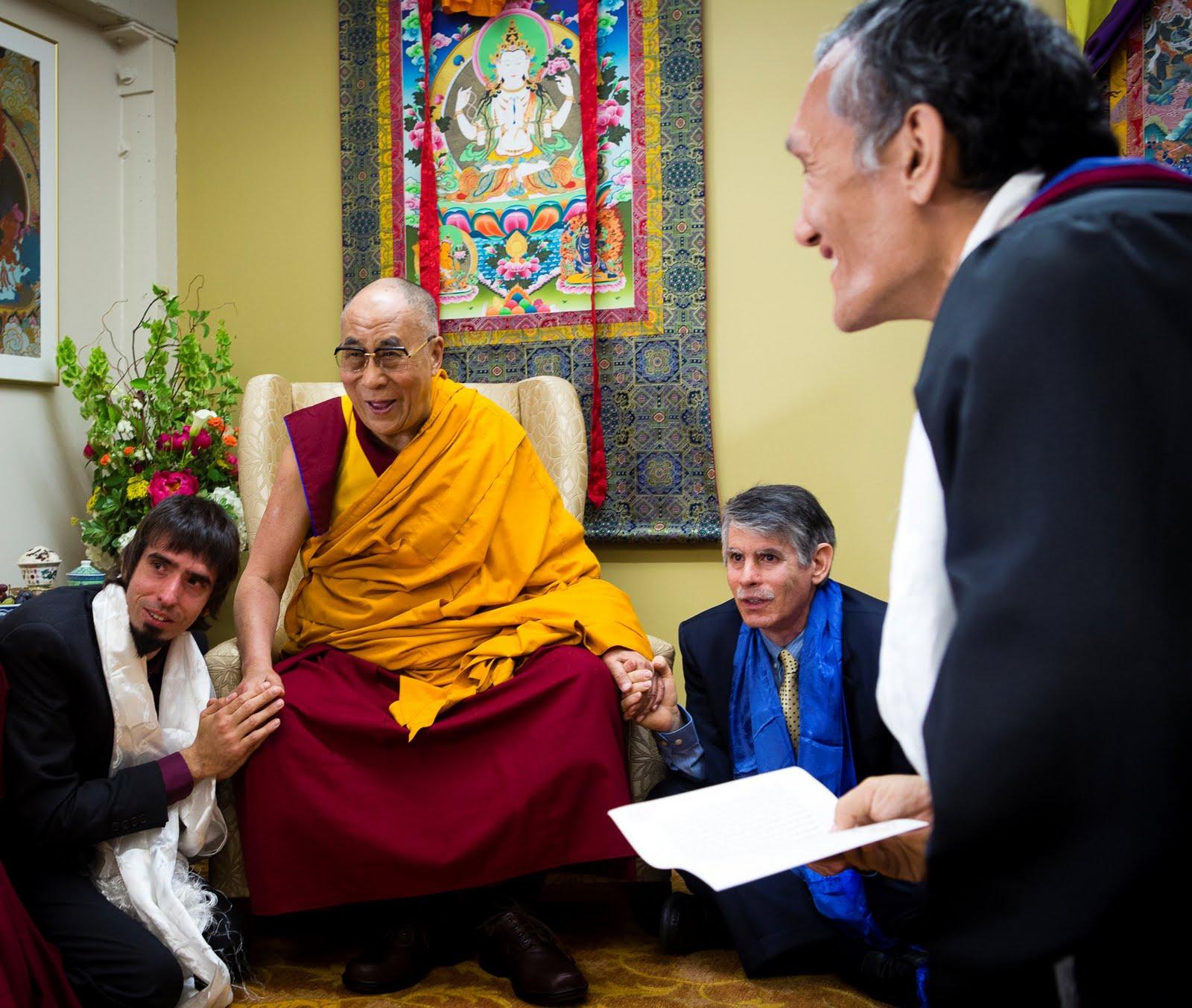 Tenzin Ösel Hita, His Holiness the Dalai Lama, FPMT International Office Director of Operations and Yangsi Rinpoche. Photo by Leah Nash.