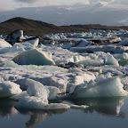 Jökulsárlón - glacial lagoon full of icebergs from Vatnajökull flowing out into the ocean