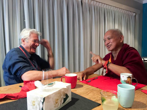 Lama Zopa Rinpoche chatting with American actor Richard Gere after dinner, Blue Mountains, Australia, June 2015. Photo by Ven. Roger Kunsang.