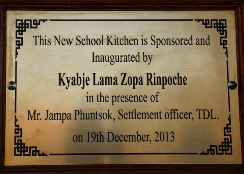 Plaque commemorating the new kitchen at BylakuppeSchoolforTibetans, Bylakuppe, Karnataka, India, December 2013. Photo by Ven. Roger Kunsang.