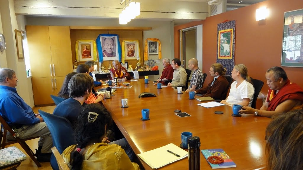 Lama Zopa Rinpoche offering advice to the staff of FPMT International Office, Portland, Oregon, US, April 2014. Photo by Ven. Holly Ansett.