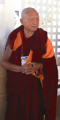Lama Zopa Rinpoche during the teaching events with His Holiness the Dalai Lama in the Blue Mountains, near Sydney, Australia, June 2015. Photo by Ven. Thubten Kunsang.