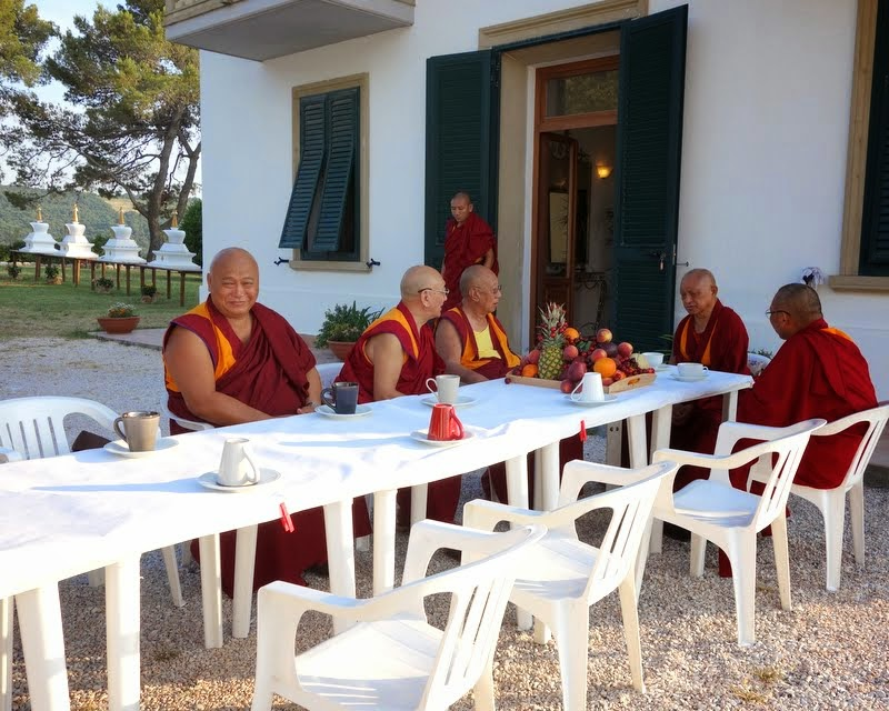 Lama Zopa Rinpoche having dinner with (from left) Sera Je manager Geshe Monlam, Pari Rinpoche, Sera Je abbot Khenrinpoche Lobsang Delek and Dagri Rinpoche, Italy, June 11, 2014. Photo by Ven. Roger Kunsang.