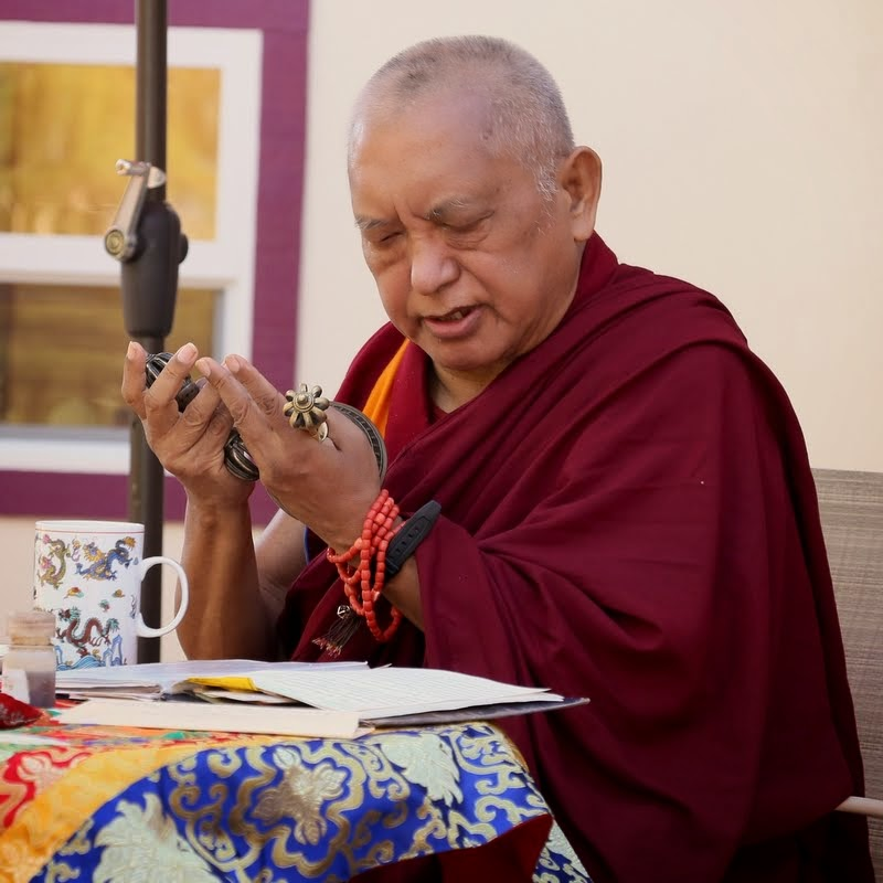 Lama Zopa Rinpoche doing an incense puja at Kachoe Dechen Ling, Aptos, California, US, May 2014. Photo by Ven. Thubten Kunsang.