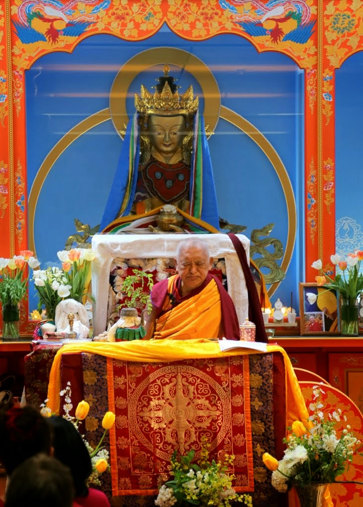 Lama Zopa Rinpoche during White Tara long life initiation at Maitripa College, Portland, Oregon, US, April 2014. Photo by Ven. Thubten Kunsang.