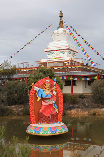 Padmasambhava statue and stupa at De-Tong Ling Retreat Centre, Kangaroo Island, Australia, May 2015. Photo by Ven Thubten Kunsang. The center is on 1,200 acres of land in an islolated and quiet are of the island.