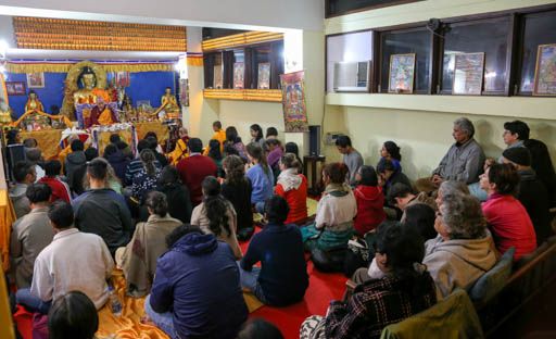 Lama Zopa Rinpoche at Tushita Mahayana Meditation Centre, Delhi, India, January 2015. Photo by Ven. Thubten Kunsang.