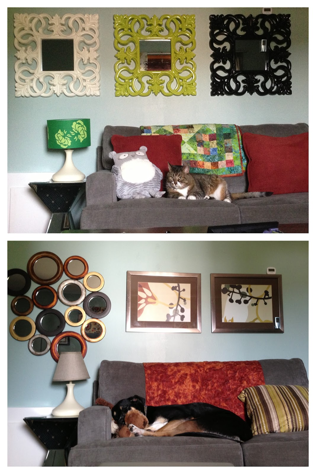 Swapping some decor pieces from summer to fall (or cat to dog?)