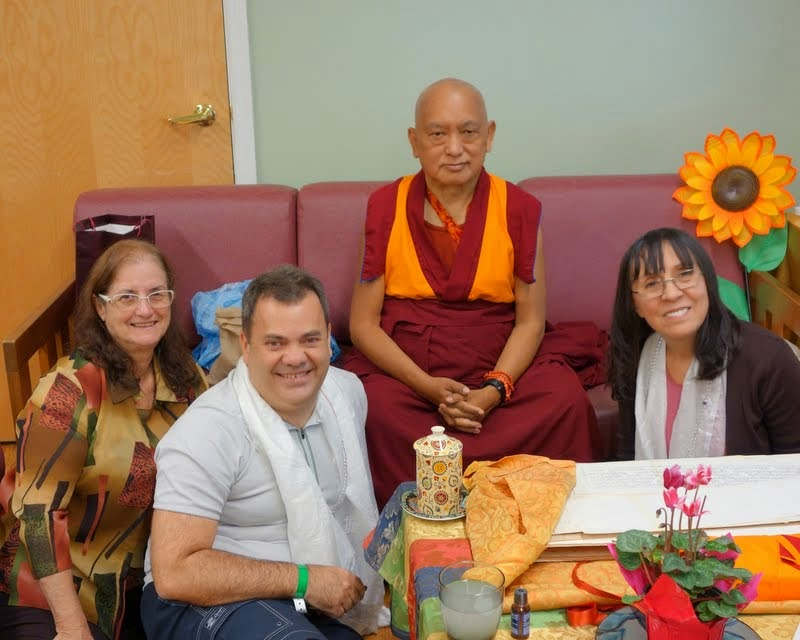 Lama Zopa Rinpoche with students from Brazil at Light of the Path, North Carolina, US, May 2014. Photo by Ven. Roger Kunsang.