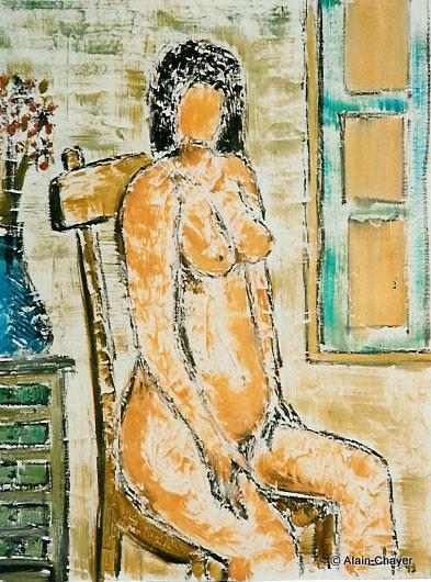 044 - La Maman Assise - 1993 61 x 46 - Acrylique sur toile