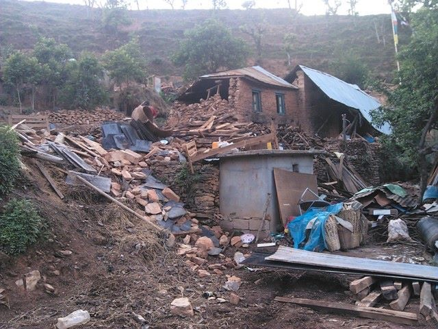 Earthquake damage to village homes.