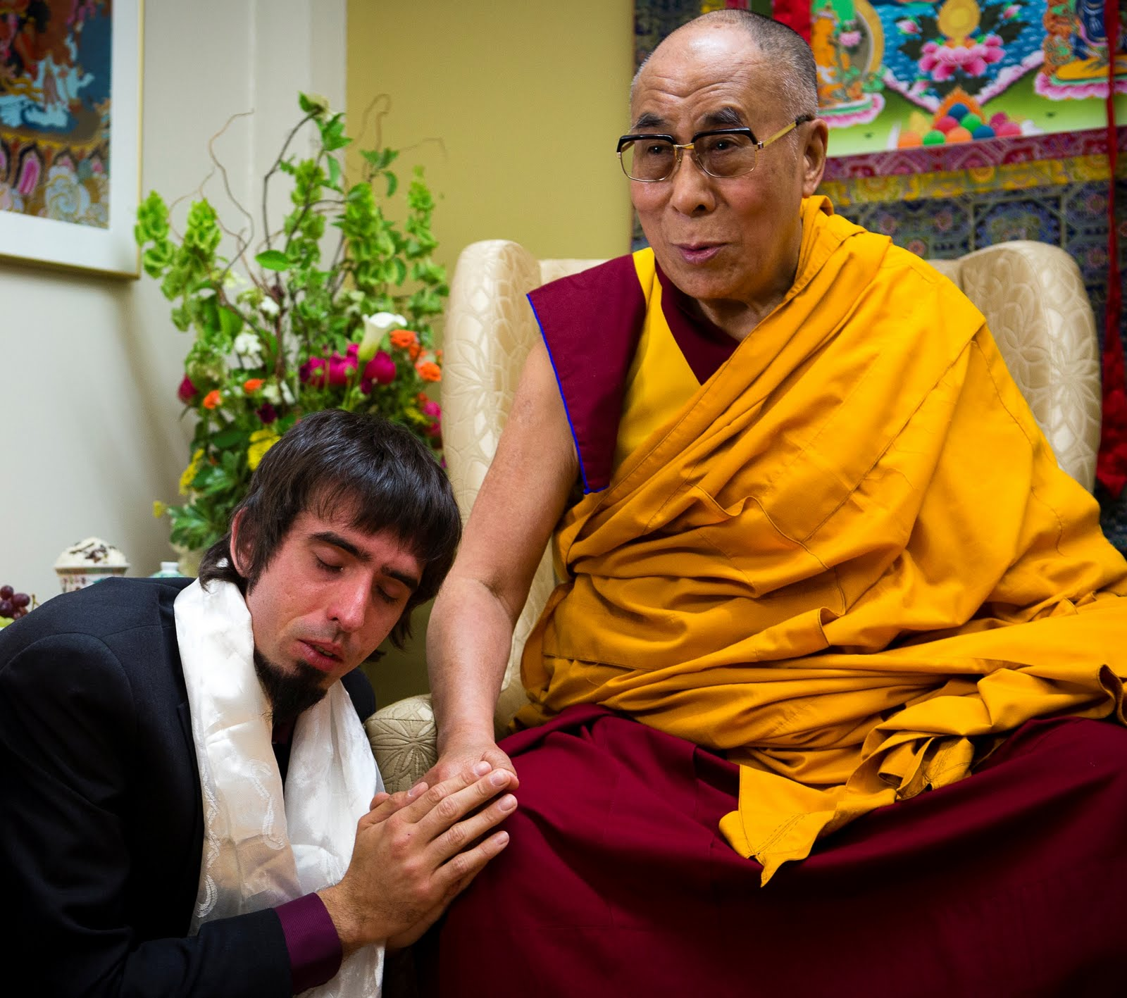 Tenzin Ösel Hita with His Holiness the Dalai at FPMT International Office. Photo by Leah Nash.