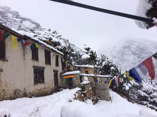 Lawudo Retreat Centre in the snow, Nepal, April 2015. Photo by Harry Sutton.